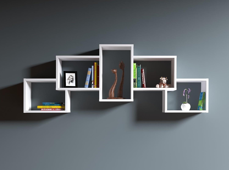 Homidea Bold Wandregal - Bücherregal - Hängeregal - Dekoregal für Wohnzimmer in modernem Design (Weiß)