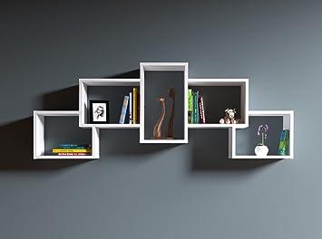 Wandregal modernes design  Homidea Bold Wandregal - Weiß - Bücherregal - Hängeregal - Dekoregal ...