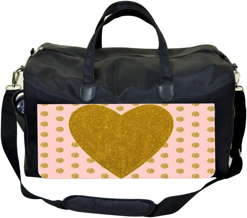 Gold Heart and Polka Dots on Pink Gym Bag