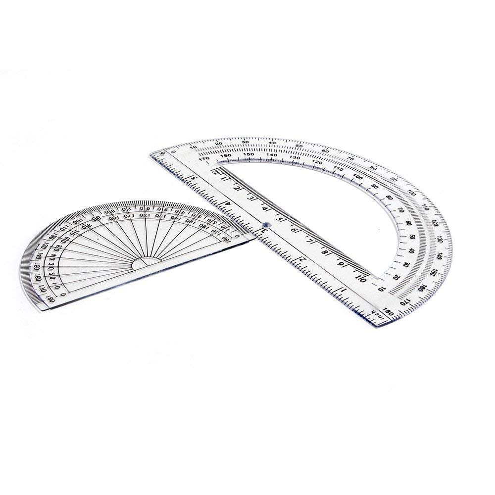 2+2 Pack Plastic Protractors 180 Degrees, 6 Inches and 4 Inch, Clear by changdadic (Image #2)