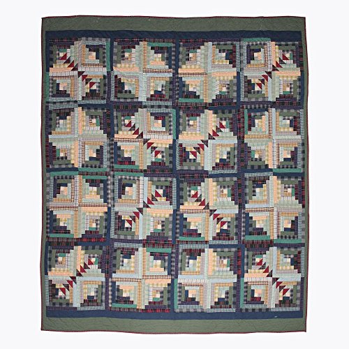 Patch Magic King Wild Goose Log Cabin Quilt, 105-Inch by 95-Inch - Log Cabin Throw Quilt
