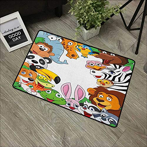 Fabric Door Mat Rug Nursery,Wild Jungle Animals Tropical Fauna Family Collection Happy Faces in Cartoon Style, Multicolor,with Non Slip Backing,31