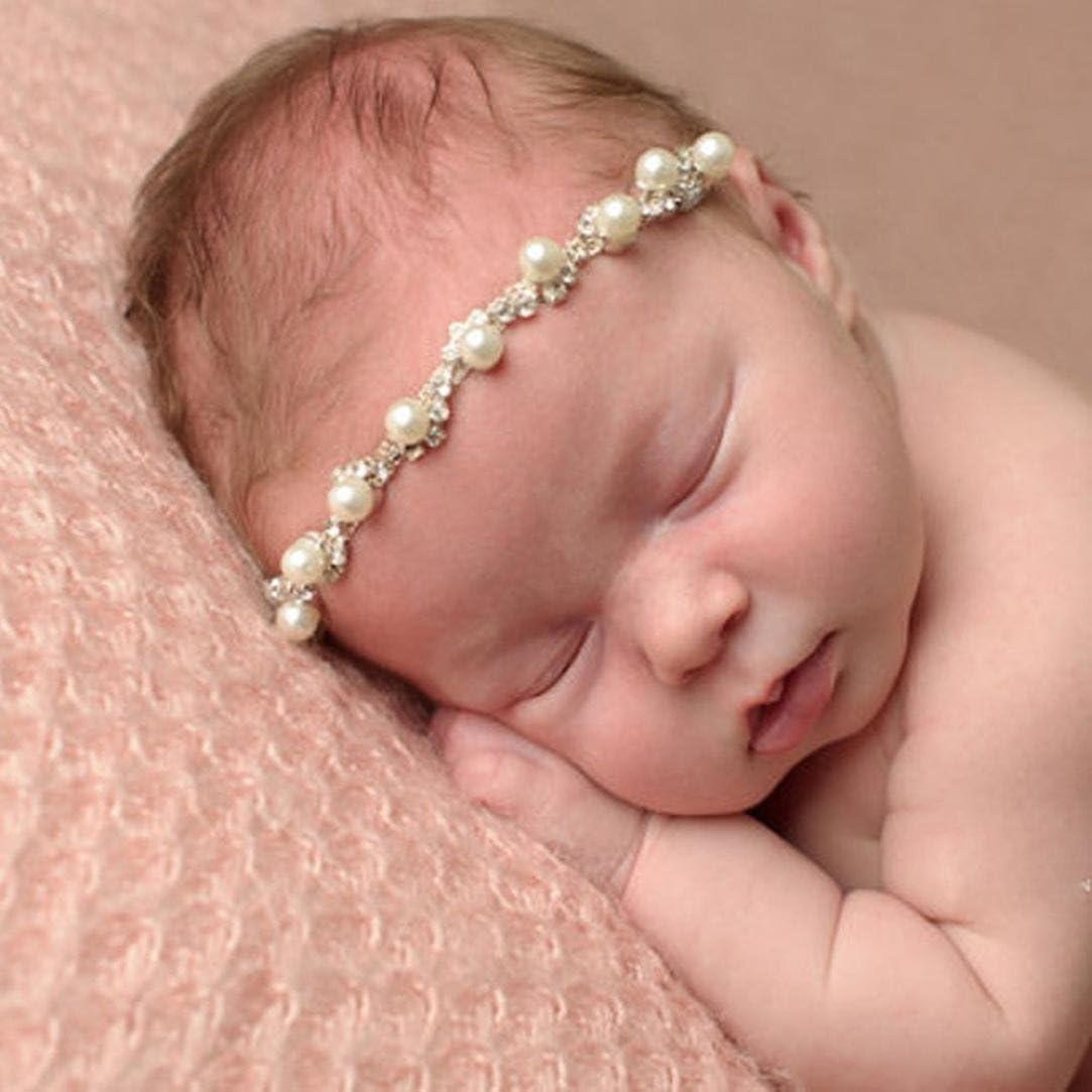 Kids Girl Toddler Elastic Headband Flower Rhinestone Hairband Pearl Hairband