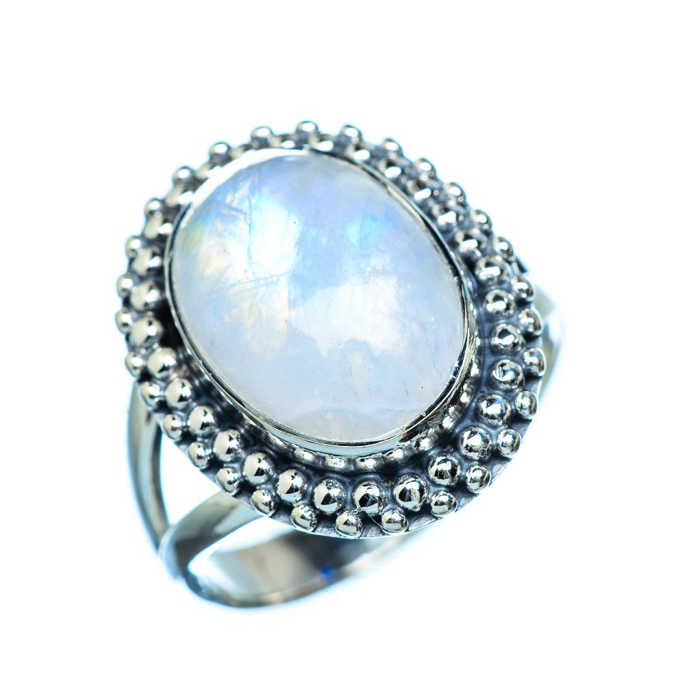 - Handmade Jewelry Vintage RING943564 Ana Silver Co Rainbow Moonstone Ring Size 6.75 925 Sterling Silver Bohemian