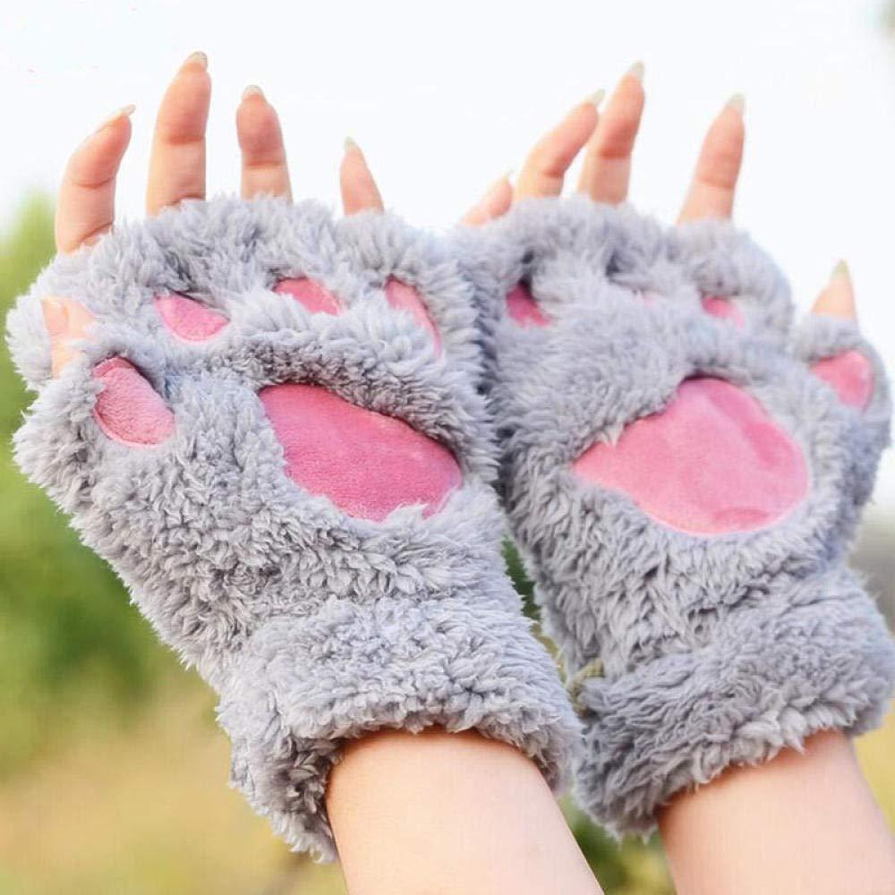 GBSTA Guantes de Invierno Invierno Mujer Guantes de Garra de Gato Lindo Guantes sin Dedos Cortos Dedo,Gris