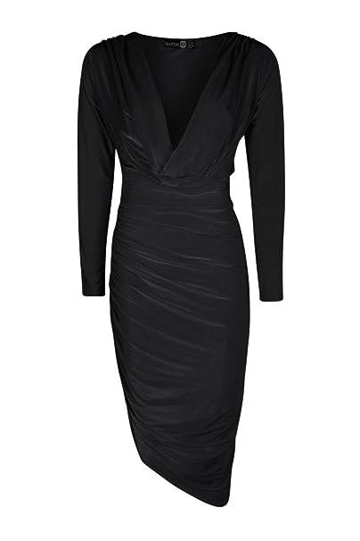 76b4dbd70b20c Boohoo Womens Azalea Slinky Cowl Ruched Midi Bodycon Dress in Black size 4