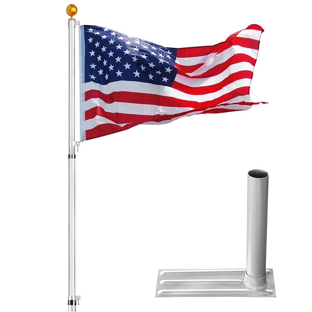 6-section 30 ft Aluminum Rustproof Telescopic Flag Pole Kit comes with Tire Mount Wheel Stand + US Flag & Gold Ball Finial by Generic (Image #8)