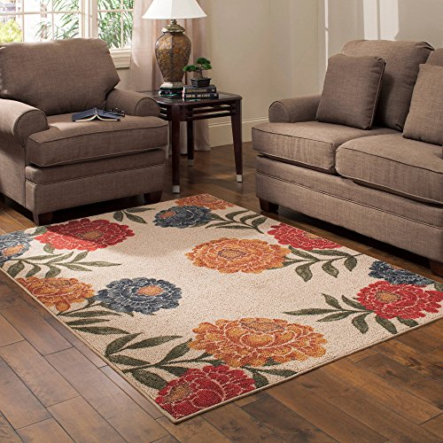 Vibrant, Beautiful, Skid-Resistant Better Homes and Gardens Garden Peonies Berber Print Floral Area Rug, 5'x7' (Garden Rug Peony)