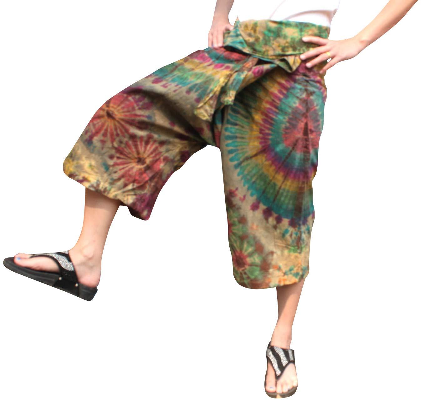 Full Funk Cotton Tie Dyed Natural Colorful Thai Fisherman Wrap 3/4 Leg Pants, Medium, Beaver Brown by Full Funk