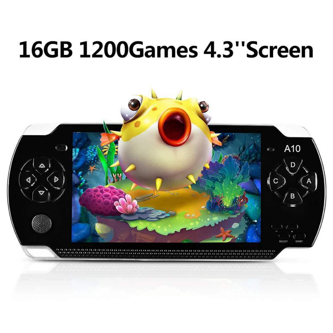 Handheld Game Console, 16GB 4.3 ''Screen 1200 Classic Games, Portable Video Game Console,Support Arcade Games/GBA / GBC / NES / BIN / SMC, The best birthday gift or for kids– Black