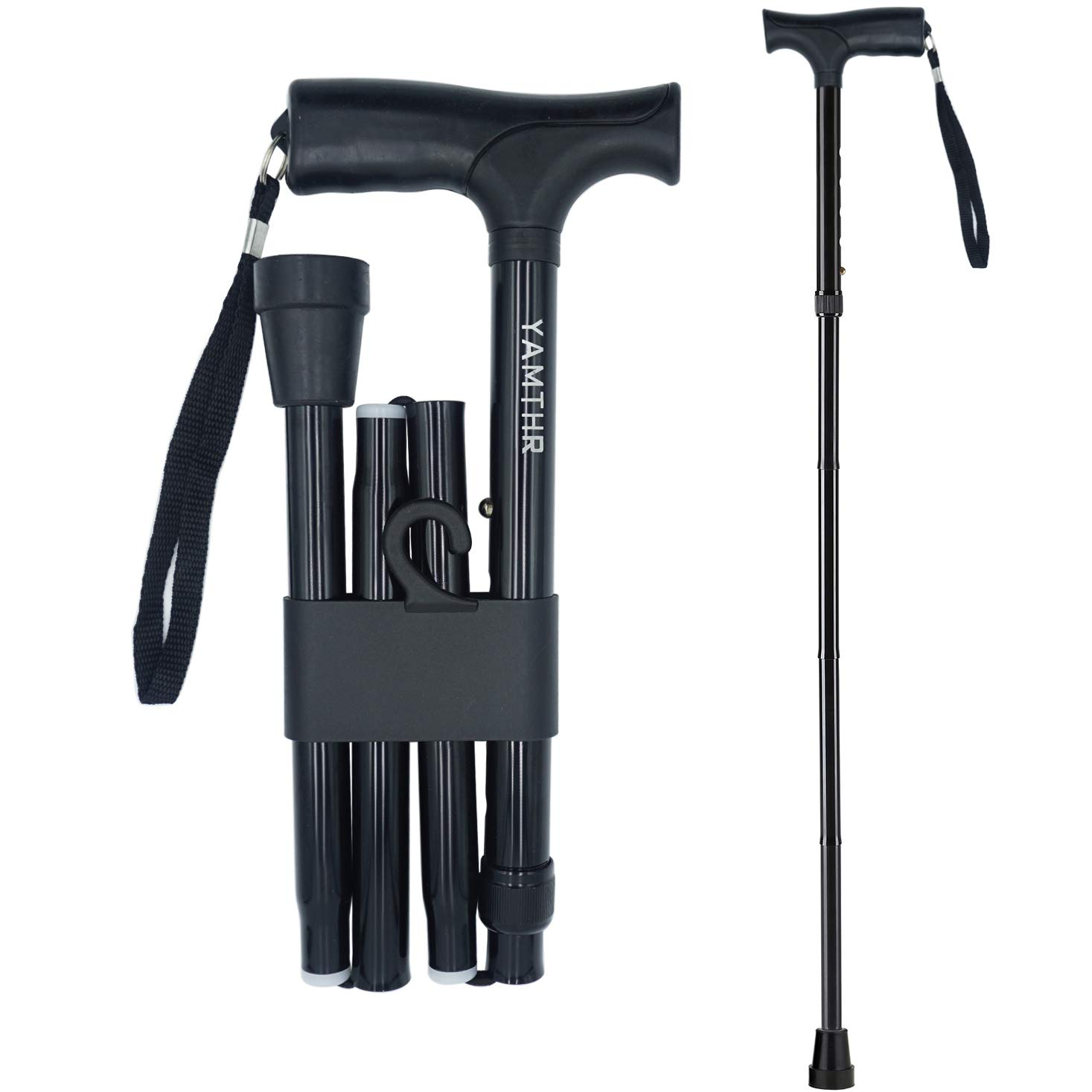 YAMTHR Folding Walking Cane for Men, Women, Portable Walking Stick Balancing Mobility Aid, Collapsible, Lightweight, Adjustable, Comfortable T Handles (Black)