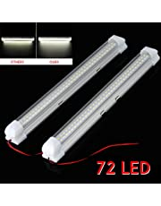 2x 12V 72 LED Car Interior White Strip Lights Bar Lamp Lighting Van Caravan Boat Buss with ON OFF Switch