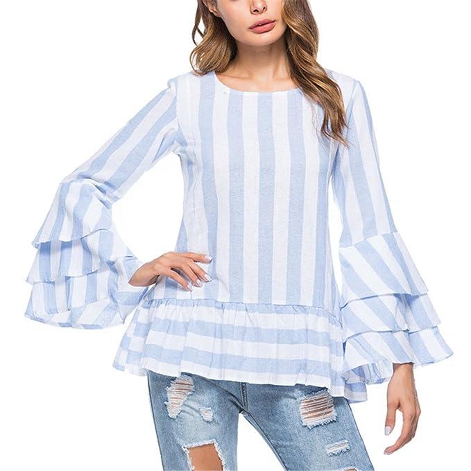 Camisa a Rayas con volados en Las Mangas Camisa a Rayas con Capucha Top Blusas con Hombros Descubiertos a la Moda Blusa con Mangas a la Moda en Verano: ...