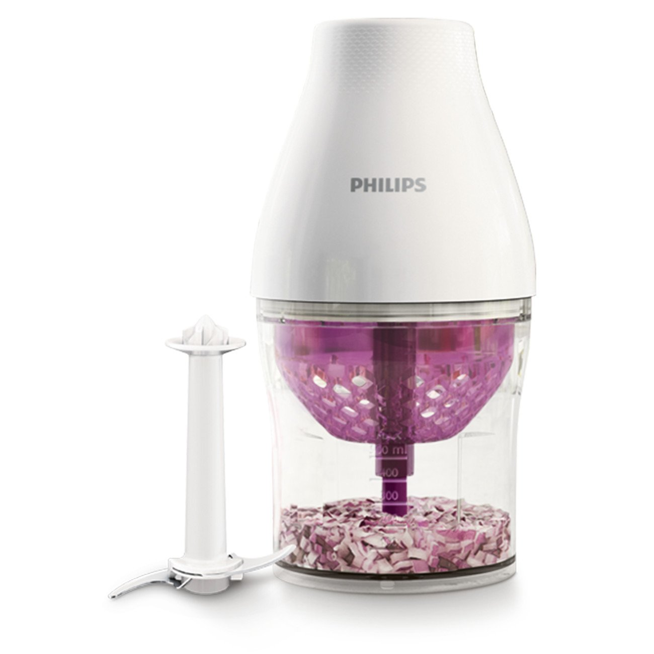 Philips HR2505/56 Multichopper with Chop Drop Technology, 1 Liter, White