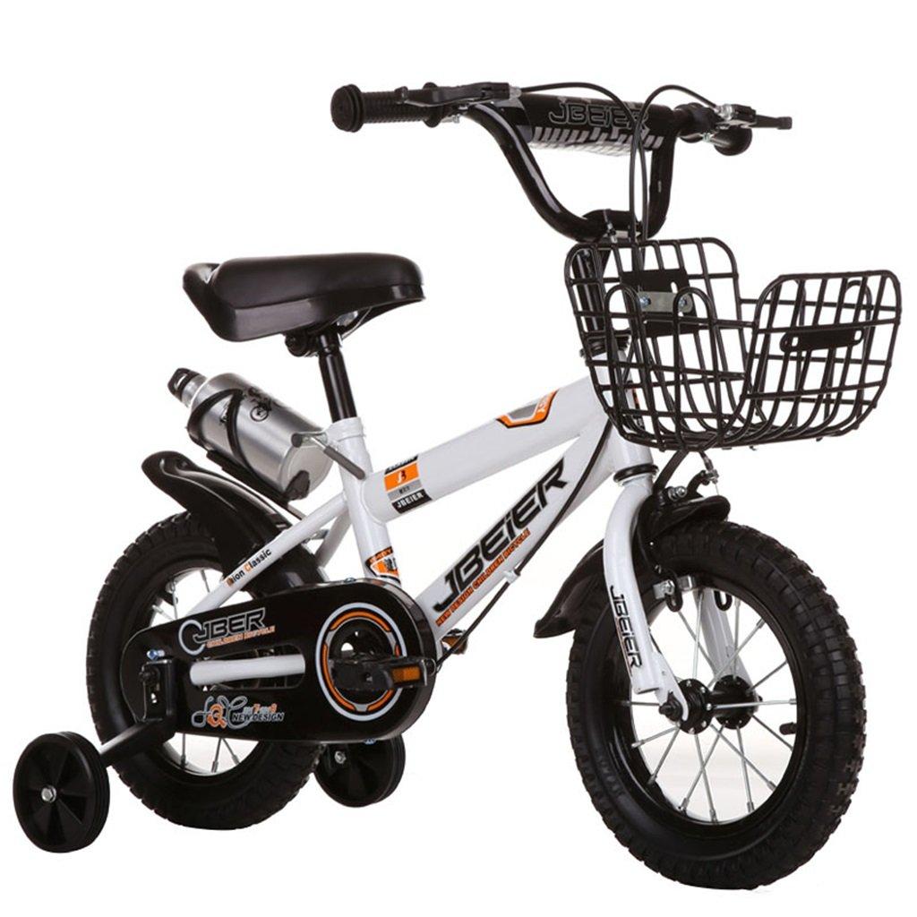KANGR-子ども用自転車 子供用自転車3-6-8ボーイズとガールズ子供用玩具屋外用マウンテンバイクのハンドルバーとサドルはトレーニングホイールで調節可能な高さにできますウォーターボトルとホルダー-12 / 14/16/18インチ ( 色 : 白 , サイズ さいず : 12-inch ) B07BTZPPP5 12-inch 白 白 12-inch
