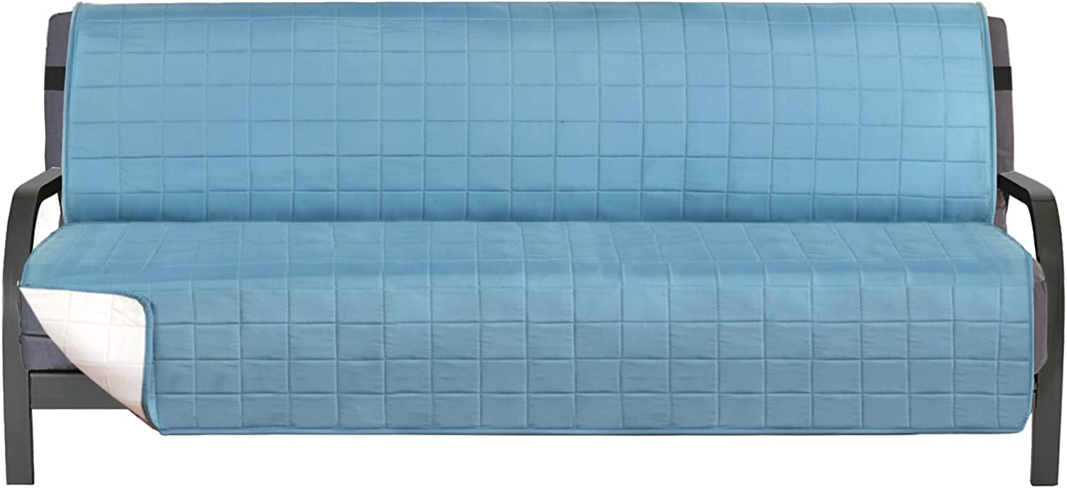 "Premium Reversible Futon Slipcover, Washable Slip Cover for Futons, Seat Width to 70"" Furniture Protector, Reversible Quilted Furniture Protector Cover (Smoke Blue/Beige, Futon)"