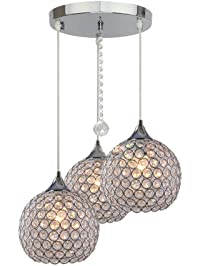 Pendant light fixtures amazon lighting ceiling fans dinggu 3 lights modern crystal ball pendant light fixture flush mounted ceiling chandelier aloadofball Gallery