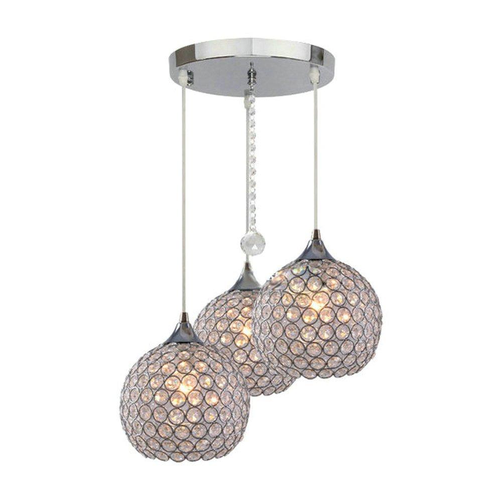DINGGU™ 3 Lights Modern Crystal Ball Pendant Light Fixture Flush Mounted Ceiling Chandelier