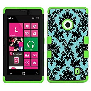 One Tough Shield ? Hybrid Layer Phone Case (Black/Green) for Nokia Lumia 521 - (Victorian Blue/Black) by lolosakes
