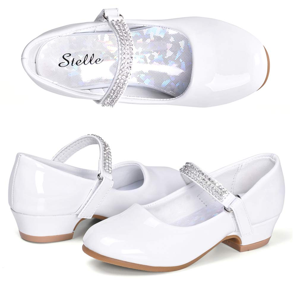 STELLE Girls Mary Jane Shoes Low Heel Party Dress Shoes for Kids (11ML, White)