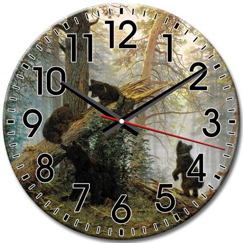Wall Clock Frameless Quiet Round Wall Clock Bear Arabic Numbers Unique 10 Inch / 25 cm Diameter -