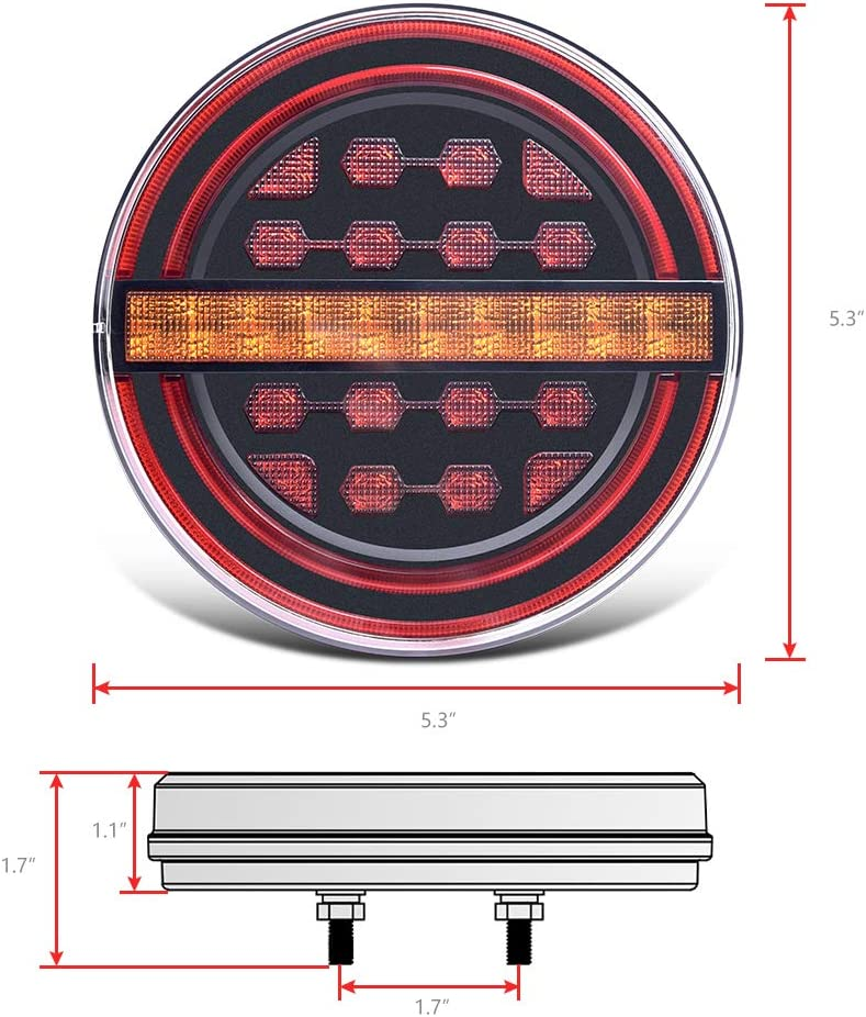 MICTUNING 5.3 Round Red//Amber LED IP67 Waterproof 12V Submersible Trailer Tail Lights Kit with Brake Light//DRL//Flow Turn Signal for Under 80 for RV Car Truck Boat 2pcs