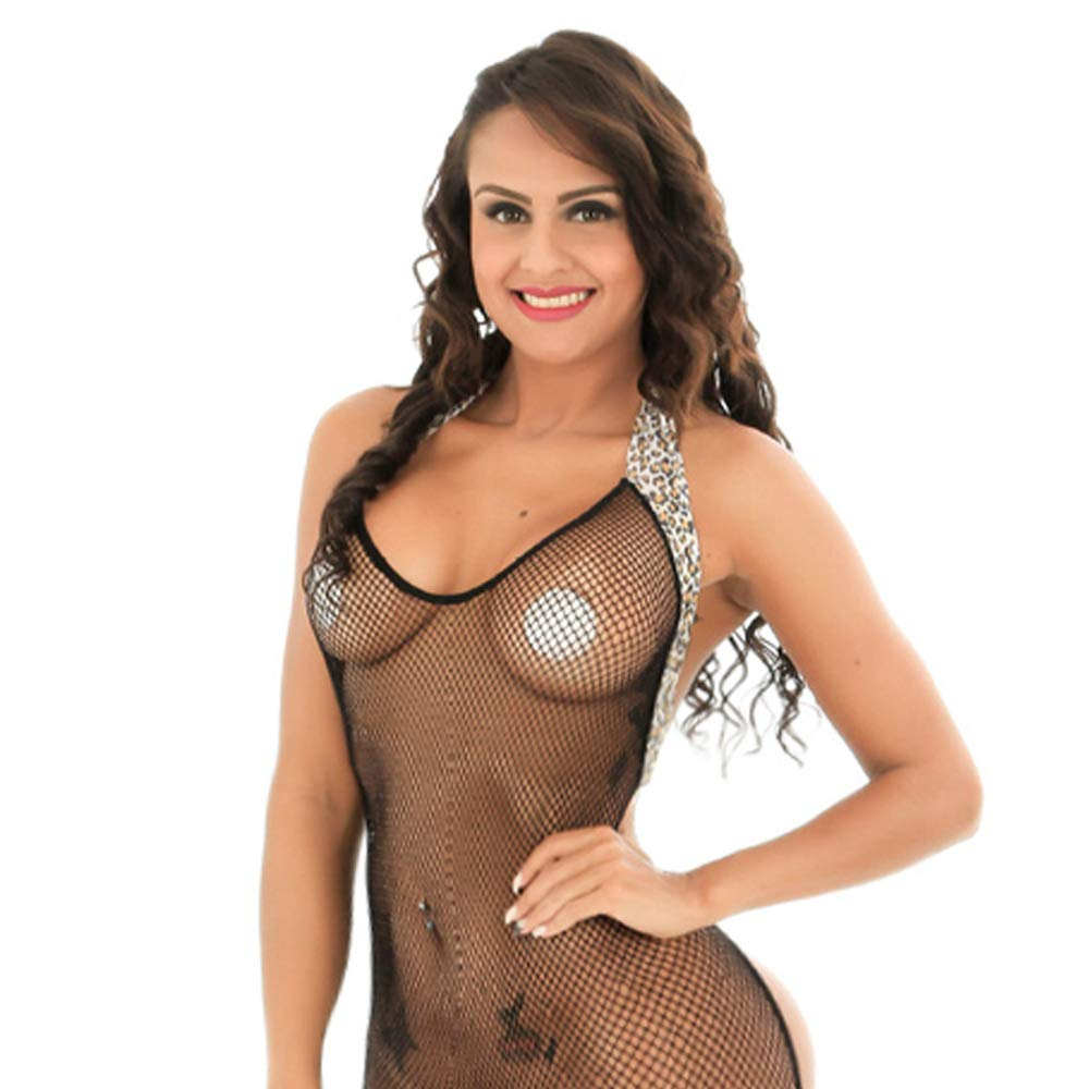 Amazon.com: QueensHot Sexy Erotic Fishnet Halter Backless Leopard  Bodystocking Catsuit Jumpsuit Lingerie Porn, Black, L: Clothing