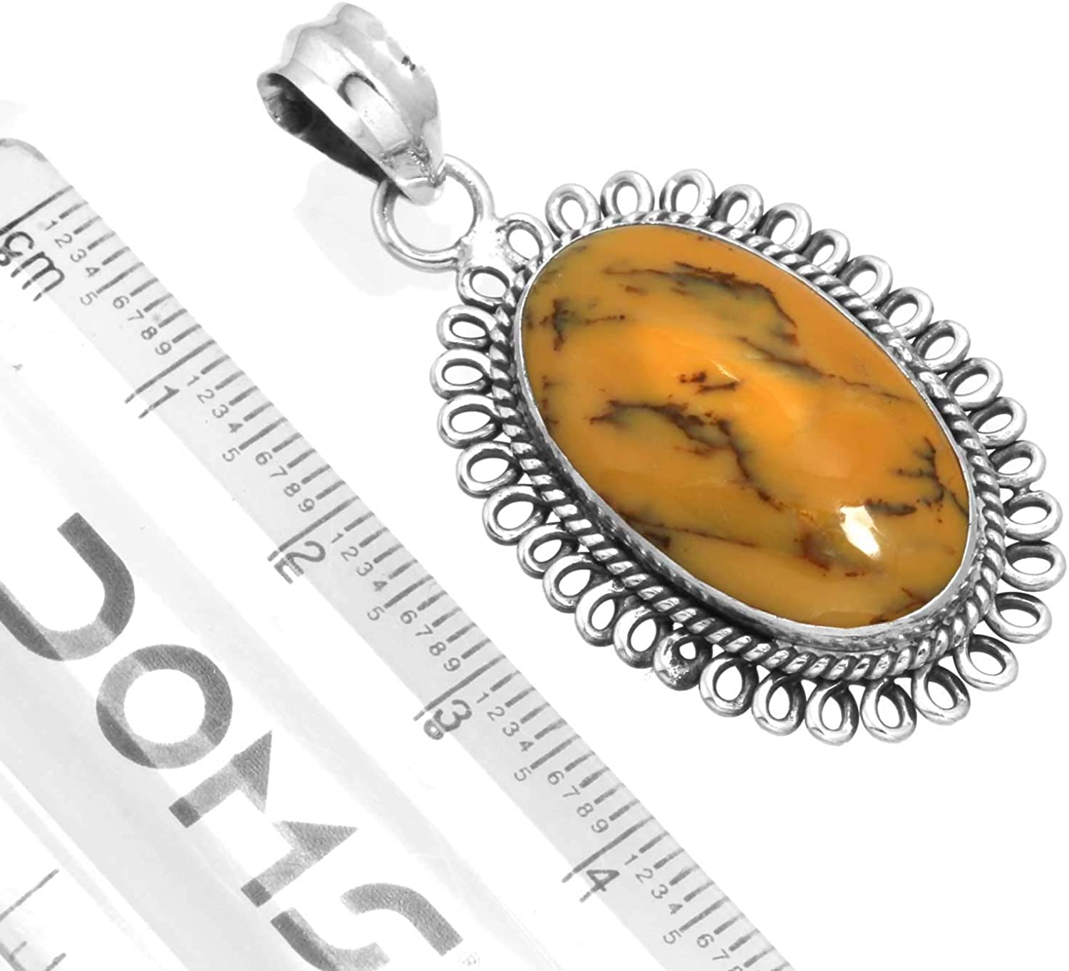 Solid 925 Sterling Silver Handcrafted Jewelry Natural Yellow Dendritic Opal Pendant
