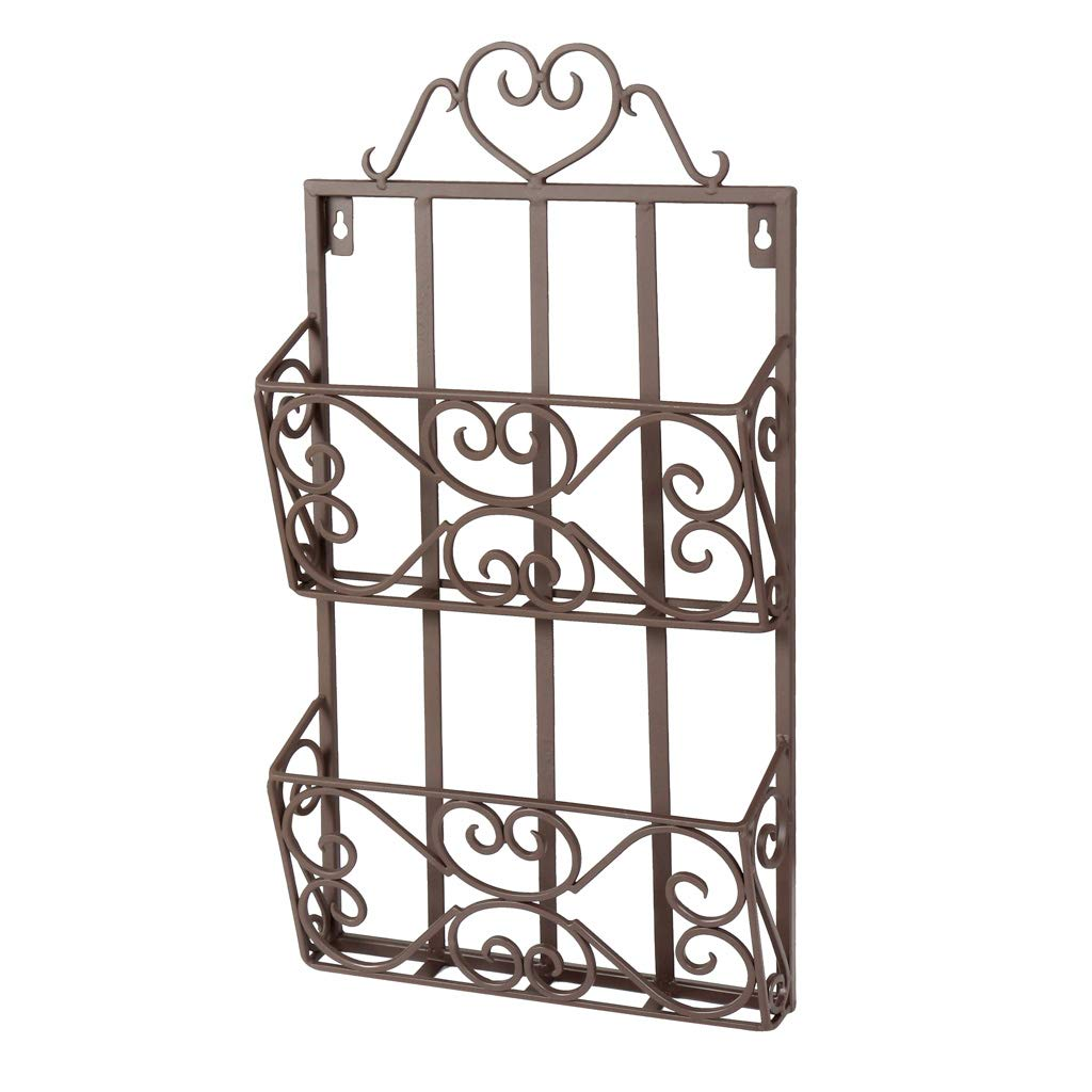 Dibor Cast Iron Antique Brown Heart Decorative Wall Mounted Magazine Rack Holder