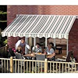 Aleko AW13X10MSTRGR58  13X10-Feet Retractable Awning, Multistripes Green