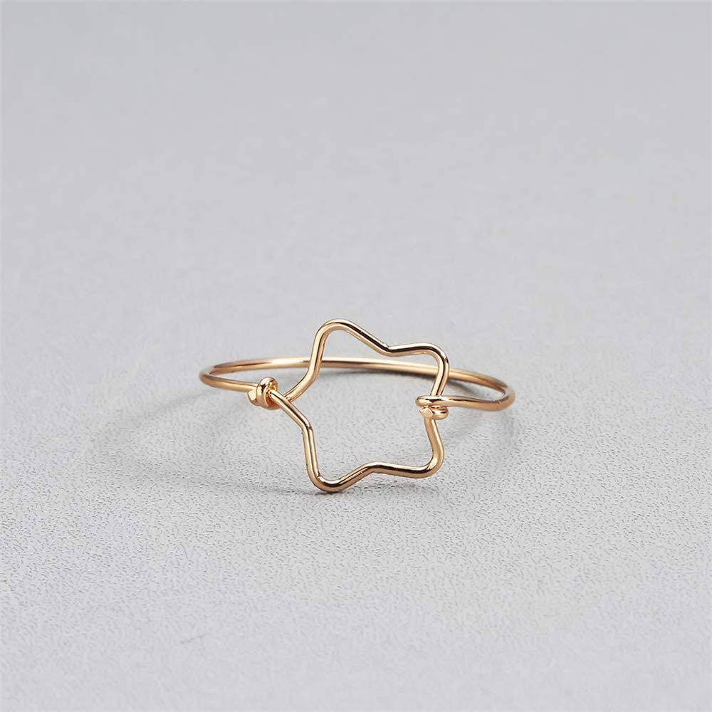 chengxun Creative Hollow Five-Pointed Star Copper Ring for All Girls Birthday Gift Statement Jewelry