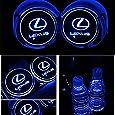 車用 LED ドリンクホルダー レインボーコースター 車載 ロゴ ディスプレイライト LEDカーカップホルダー マットパッド (レクサス Lexus)