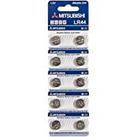 Mitsubishi LR44 AG13 SR44SW 357 Button Alkaline Battery (10 Pieces)