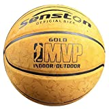 Senston Basketball Outdoor Indoor Leather Basketballs Game Ball Street Basketball with Net Official Size 7