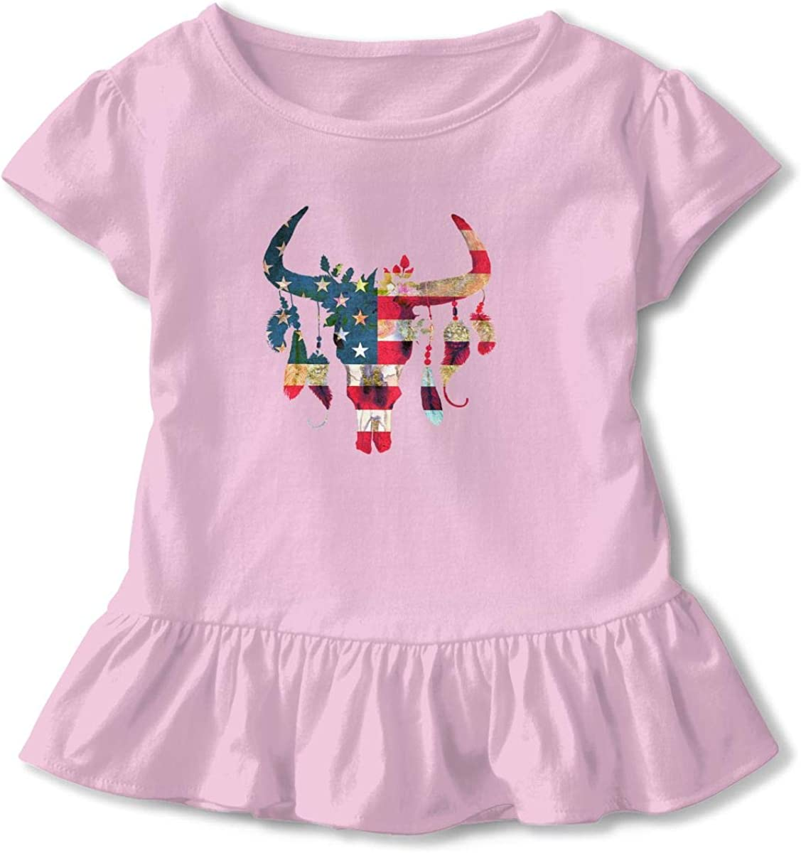 Cheng Jian Bo American Flag Bull Skull with Flowers and Feathers Toddler Girls T Shirt Kids Cotton Short Sleeve Ruffle Tee