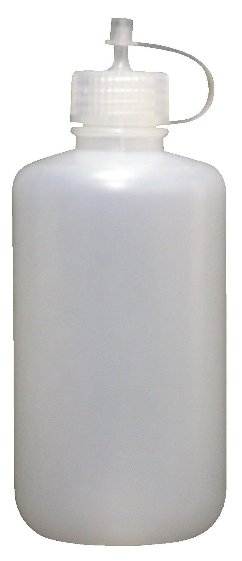 Vestil BTL-RD-8 Low Density Polyethylene (LDPE) Round Squeeze Dispensing Bottle with Drop Cap, 8 oz Capacity, Clear