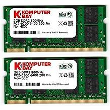 Komputerbay 4GB 2X 2GB DDR2 800MHz PC2-6300 PC2-6400 DDR2 800 (200 PIN) SODIMM Laptop Memory