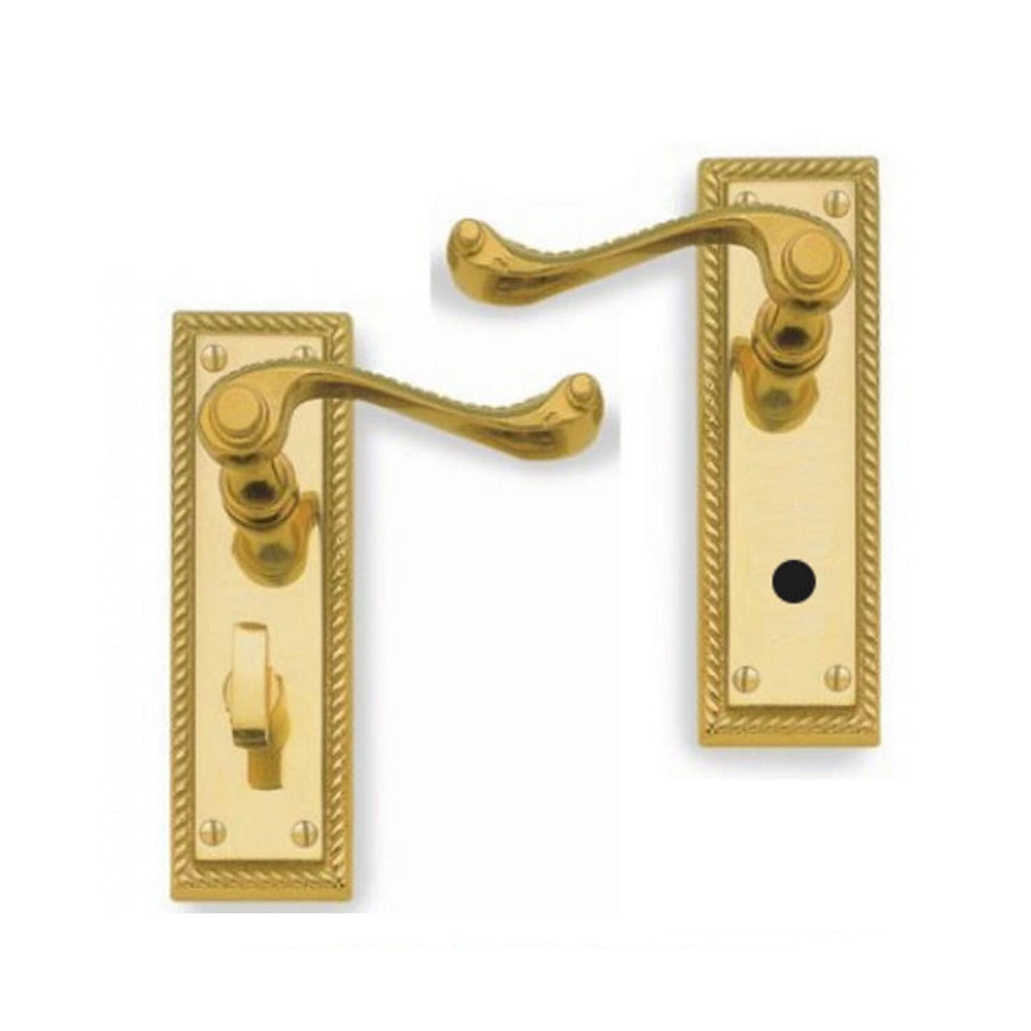 Solid Polished Brass Georgian Scroll Bathroom Door Handles OriginalForgery
