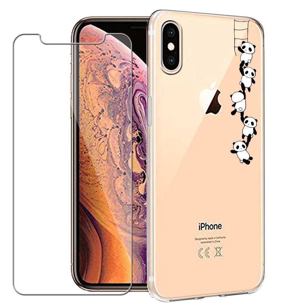 Yoowei iPhone XSケース/iPhone Xケースに対応+強化ガラススクリーンプロテクター、クリスタルクリアソフトジェルTPUケースiPhone XS/X用かわいい漫画パンダパターン保護カバー   B07MDXGPRD