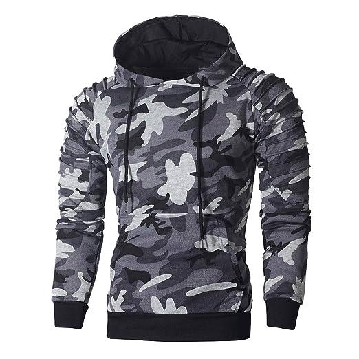 4f478999 Boomboom Men Shirts, Men Camouflage Autumn Hoodie Hooded Sweatshirt Blouse  Dark Gray M