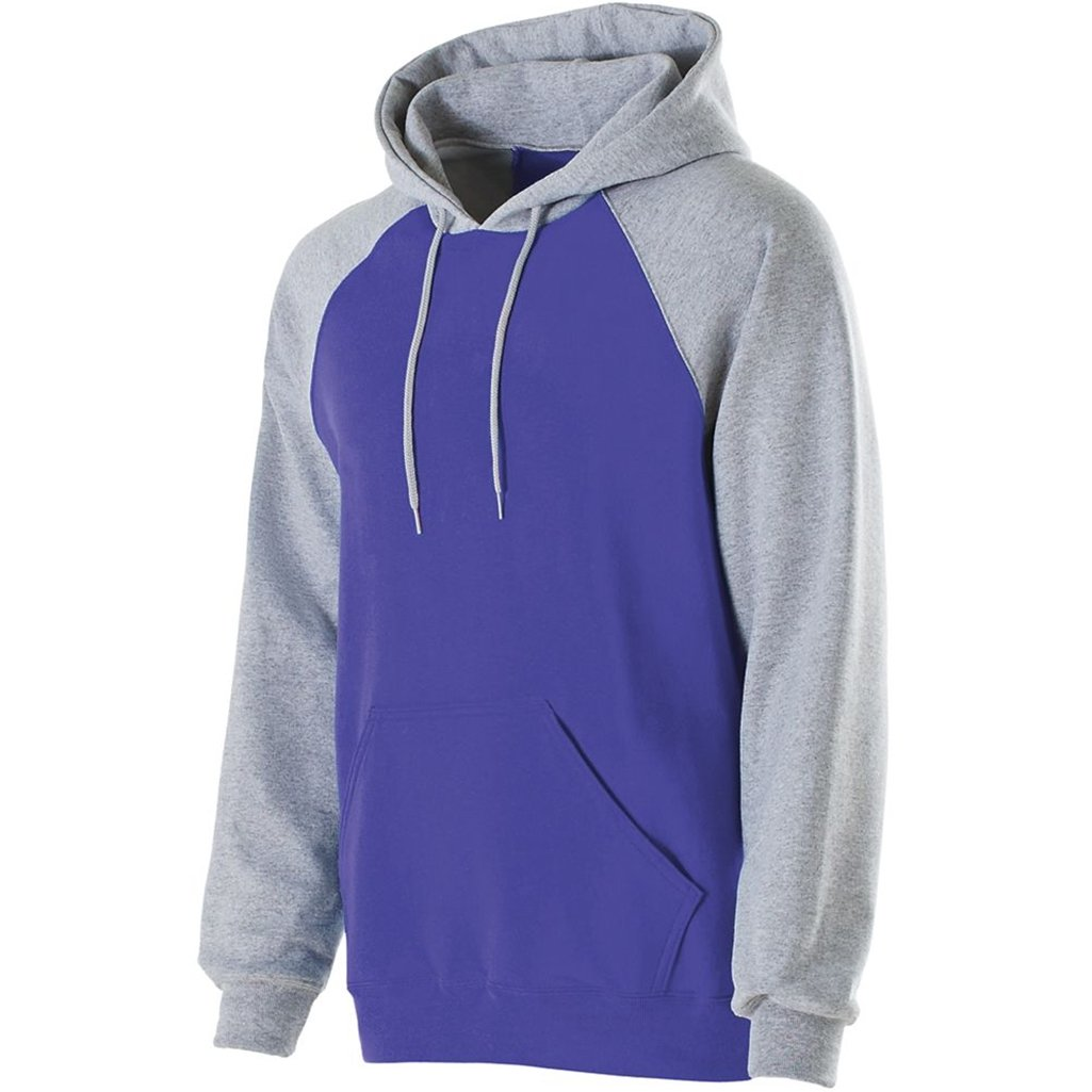 Holloway Youth Banner Hoodie (Large, Purple/Athletic Heather) by Holloway
