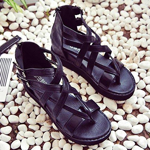 Sandalias de vestir, Ouneed ®Moda mujer ocio sandalias Peep-Toe ojotas Negro
