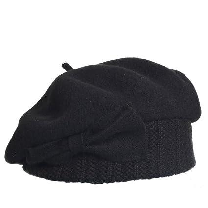 4c71329befc VECRY Lady French Beret 100% Wool Beret Dress Beanie Winter Hat (Black)   Amazon.co.uk  Clothing