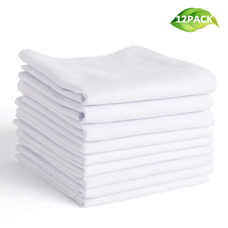 Landisun Men's Handkerchiefs 100% Cotton Classic Hankies-12 Pack