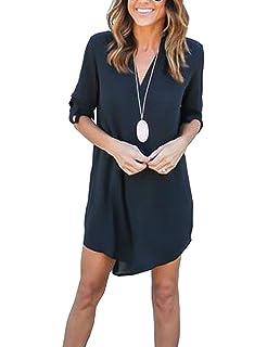 f000ba62aa0bd Femme Asymétrique Chemise Robe Casuel T-Shirt Top Longue en Mousseline de  Soie