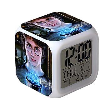 QIANXIAN Relojes despertadores Harry Potter,Retroiluminación Colorido Digital Relojes despertadores,atenuador despertadore de luz Nocturna Suave niños,001: ...