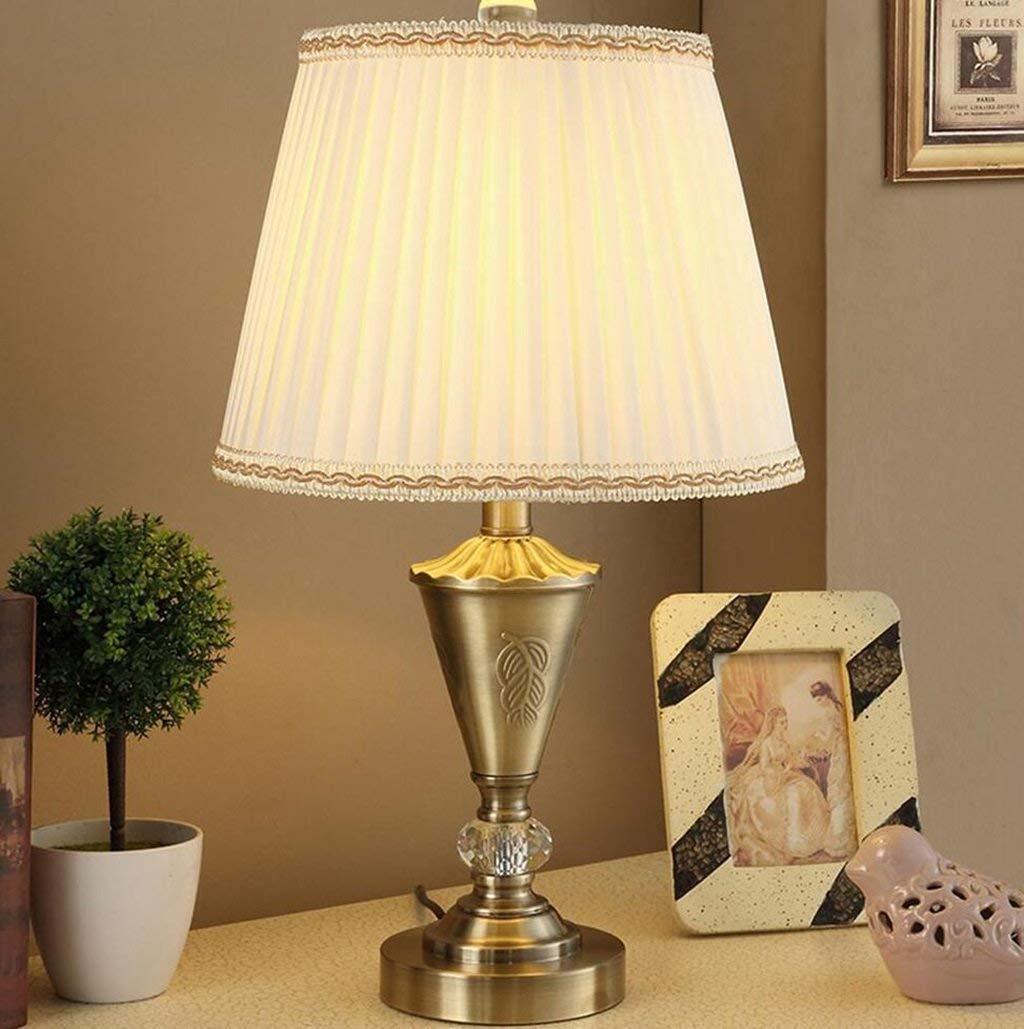 Eeayyygch Schlafzimmer tischlampe Schlafzimmer Nachttischlampe American Vintage Kupfer Kristall Tischlampe Kreative Wohnzimmer Tischlampe LED Lampe (Farbe   -, Größe   -)
