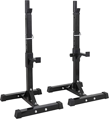 """Amazon.com : F2C Max Load 550Lbs Pair of Adjustable 40""""-66"""" Rack Sturdy Steel Squat Barbell Free Bench Press Stands Gym/Home Gym Portable Dumbbell Racks Stands (one Pair/Two pcs) : Sports & Outdoors"""