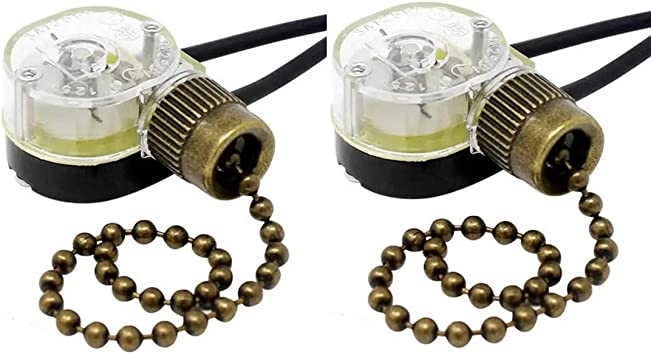 Ceiling Fan Switch Zing Ear ZE-109M Pull Chain Switch On//Off Light Switch for Hunter Ceiling Fan Light Lamp Replacement