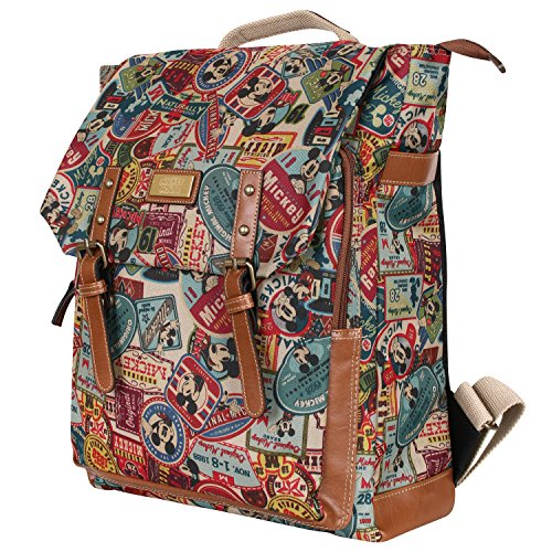 Disney Mickey Pattern Preppy Vintage Style School Book Satchel Backpack Rucksack(bag-063-1)